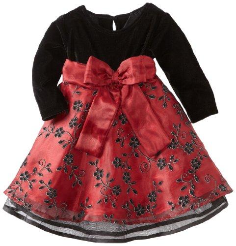 be1437ad0a914 Blueberi Boulevard Baby Girls Infant Flock Velvet Dress, Red, 24 Months