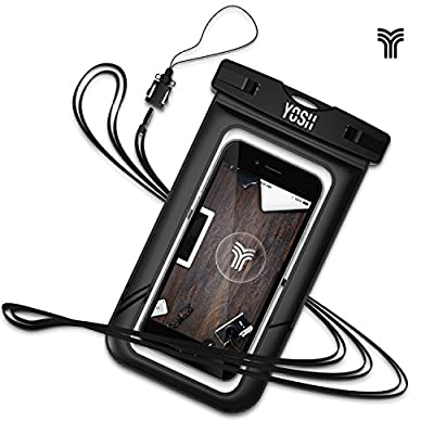 Waterproof Case ?LIFETIME WARRANTY?YOSH® Universal Pouch Dry Bag for Apple iPhone 6 plus, 6s plus, 5/5s/5c, Samsung Galaxy S7 Edge, S6 Edge, S5, S4, Note 4 for Cellphone up to 6 inches (Black)