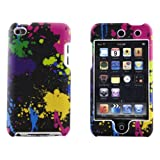 Boho Tronics ® Hard Plastic Paint Splatter Case Cover Skin - Compatible With Apple iPod Touch 4 - Black Green Pink Blue Yellow