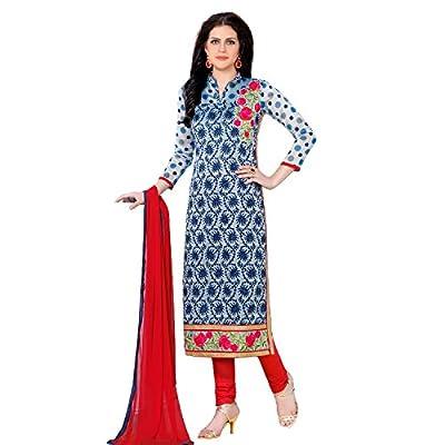 EthnicCrush Women's Cotton Unstitched Embroidered Salwar Kameez(EC3383PRK5635,Blue & Grey)