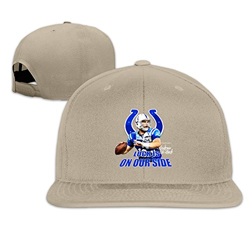 Custom Unisex-Adult Luck Indianapolis Football Team Player Flat Billed Baseball Caps Natural (Carlos Bake Shop compare prices)