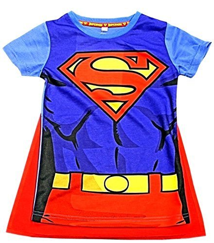 Kinder Umhang T-Shirt Superheld Jungen Kostüm Iron Man Superman Batman Official Starwars Marvel Avengers Verschiedene Größen - Jungen, Superman T-Shirt & Umhang, 104/110