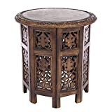 Jaipur Solid Wood Hand Carved Accent Table - Antique Brown - Handcrafted Carved Wood Folding Accent Table - Size: 18 Round Top x 18 High - Intricate detail with hand carving creates a truly unique furnishing accent