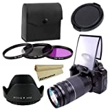 52mm Professional Lens Accessory Kit for NIKON D7000 D5100 D5000 D3100 D3000 D40 D60 D80 D3200 Cameras -- Includes: High Resolution Filter Kit (UV, Polarizing, Fluorescent) + Carry Pouch + Tulip Flower Lens Hood + Universal Pop-Up Flash Diffuser Soft Scre