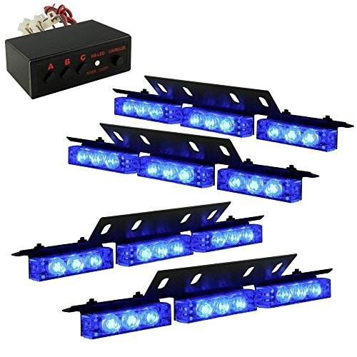 Ediors Ultra Bright 36 Led Emergency Vehicle Flashing Warning Strobe Lights/Lightbars For Deck Dash Grille-Blue