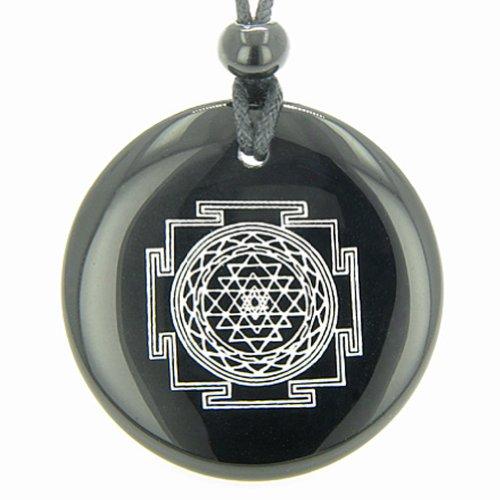 Sri Yantra Chakra Talisman Black Agate Magic Necklace