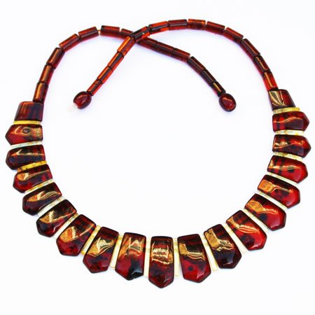 Elegant Baltic amber necklace/collar is made using the finest pieces of golden and cognac amber. 201