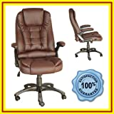 #2: EXECUTIVE LEATHER OFFICE CHAIR BROWN CHROME BASE | RISE AND TILT (BC01)