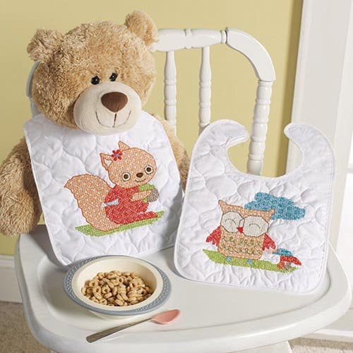 BUCILLA 46188 Woodland Baby Stamped Bib Pair Cross Stitch Kit, 9-Inch by 14-Inch Each