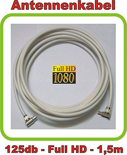 1,5m Antennenkabel/TV Kabel Premium-Line 125db - 5fach geschirmt - Full HD und 3D