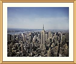 Empire State Building and Manhattan Skyline - Beautiful approx. 25x29-inch Framed & Matted - 1 1/2-inch Antique Style Gold Frame - Photographic Print by Carol M. Highsmith