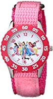 "Disney Girls' W000042 ""Time Teacher"" Stainless Steel Watch with Pink Nylon Band by Disney"