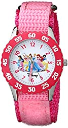 Disney Girls' W000042 Time Teacher Disney Princess Watch with Pink Nylon Band