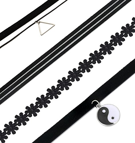 FIBO-STEEL-8-10PCS-Womens-Black-Velvet-Choker-Necklace-for-Girls-Lace-Choker-Tattoo-Necklace