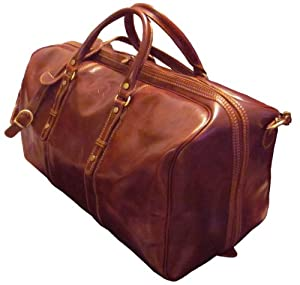 AUTHENTIC VINTAGE VALOR ADAMO GRANDE ITALIAN LEATHER BROWN TRAVEL BAG, DUFFLE, WEEKENDER, MADE IN ITALY