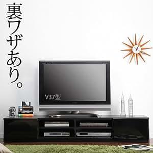 マストバイ テレビ台 ロビン 幅180cm・ブラック・前板鏡面タイプ・背面収納付 M0600003bk
