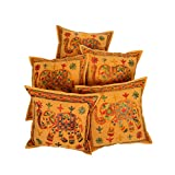 Rajrang Traditional Mirror Embroidred Cotton Cushion Cover 16 By 16 Inches Set 5 Pcs - B00RQDNXF8