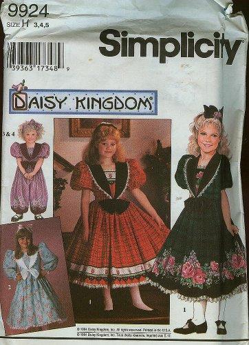 Simplicity Daisy Kingdom Girls' Romper & Dress Pattern 9924 ~ Size 3,4,5 front-58132