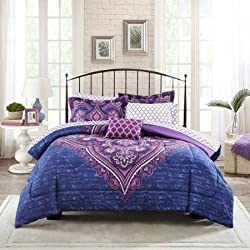 Mainstays Grace Medallion Purple Coordinated Bedding Set, Twin/twin Xl
