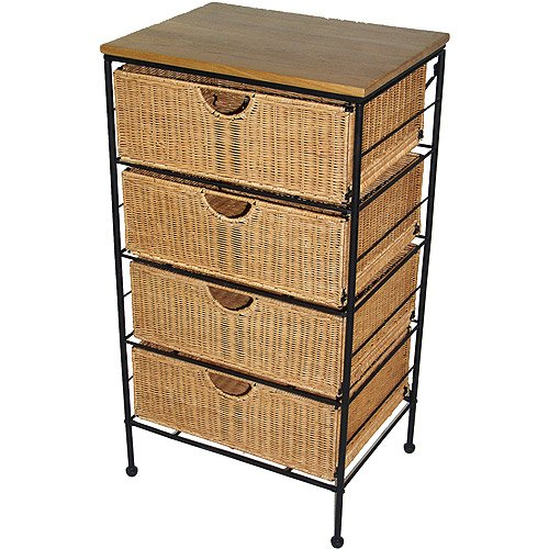 4-Drawer Wicker, Chest, 13.7 X 18.3 X 33.0 W/ Steel Frame, Wood Top front-937549