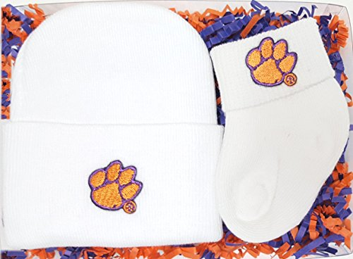 Clemson Tigers Newborn Baby Cap and Socks Gift Set