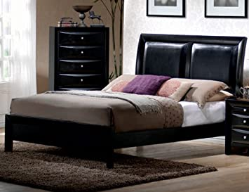 Queen Size Platform Bed in Glossy Black Finish