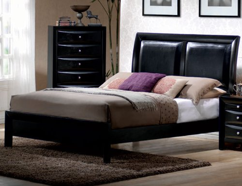 King Size Bed in Glossy Black Finish