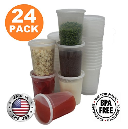 Food Storage Containers with Lids, Round Plastic Deli Cups, US Made, 32 oz, Quart Size, Leak Proof, Airtight, Microwave & Dishwasher Safe, Stackable, Reusable, White [24 Pack] (Deli Containers Quart compare prices)