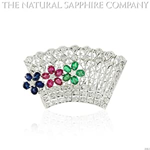 Natural Ruby, Emerald and Sapphire Brooch diamond with 1.18ct. Diamonds. (J3415)