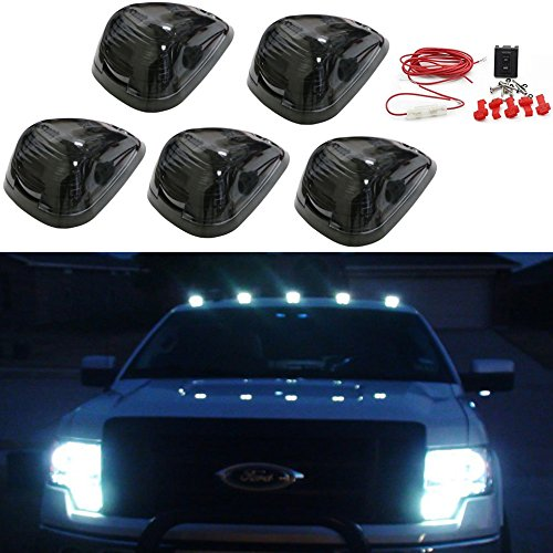 Carrep 5x Smoked Cab Roof Top Marker Running Lamps Clearance Light Lamp W/ 9 Super White LED Light Bulbs for Truck Pickup 4X4 SUV (5pcs Smoked Cab+ Wiring Pack) (Cab Top Light Mount compare prices)