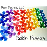 """24 Assorted Rainbow Colors Decorative Wafer Paper Flowers© Very Small, Mini 1.25"""" Size Cake Toppers"""