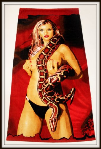 Great Beach Towels With Over 30 Lovely Picture Different Design For Your Interest (A Girl With Hug Snake, 30 X 60 Inch) front-964755