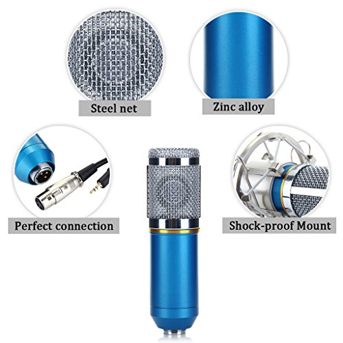 Floureon BM-800 Condenser Sound Studio Recording Broadcasting Microphone + Shock Mount Holder Blue - 8