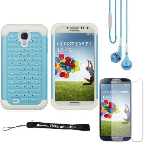 Baby Blue Elegant Diamond Back Cover With Additional Silicone Skin For Samsung Galaxy S4 Android Smartphone 4G Lte (Jelly Bean) + Samsung Galaxy S4 Screen Guard Protector + Blue Crystal Clear High Quality Hd Noise Filter Handsfree Earbuds ( 3.5Mm Jack ) + front-557373