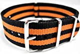G10 Nato Military Black And Orange Stripe Watch Strap Band 22mm