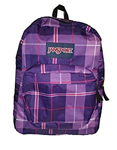 JanSport Classic SuperBreak Backpack (Electric Purple Silk Royal Plaid)