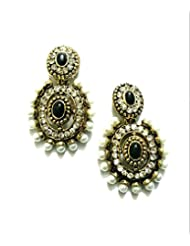 Ethnic Fashion Earrings With Pearl And Coloured Crystals In Gold Finish, Black