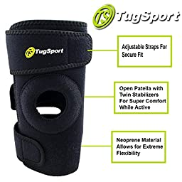 Knee Brace Support By TugSport with Dual Side Stabilizer, Open Patella, and Breathable Neoprene - Best Support for ACL, Meniscus Tear, Arthritis, Running, Basketball, and Injury Recovery - Adjustable 3 Sizes - Black (Medium)