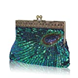 MODACC STUNNING PEACOCK GREEN BLUE WEDDING EVENING CLUTCH PARTY PURSE HAND BAG WITH HANDMADE SEQUINS AND BEADS