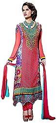 Trishana Fashions Women's Georgette Dress Material(Tfiu12238,Deep Carmine Pink)