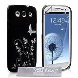 """Yousave Accessories� Samsung Galaxy S3 Tasche Schwarz Schmetterling Harte H�lle Mit Displayschutzvon """"Yousave Accessories�"""""""