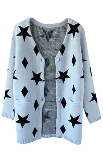 Pink Wind Womens Stars Pattern Cardigan Loose Long Knitted Sweaters