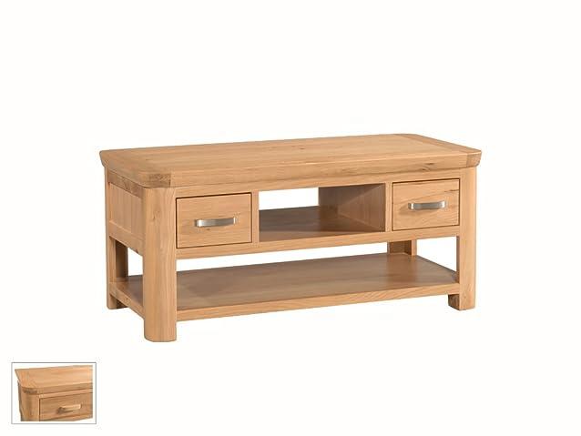 smussato standard Storage tavolino con ripiani e 2cassetti in rovere massello naturale–Finitura: Rovere chiaro–salotto