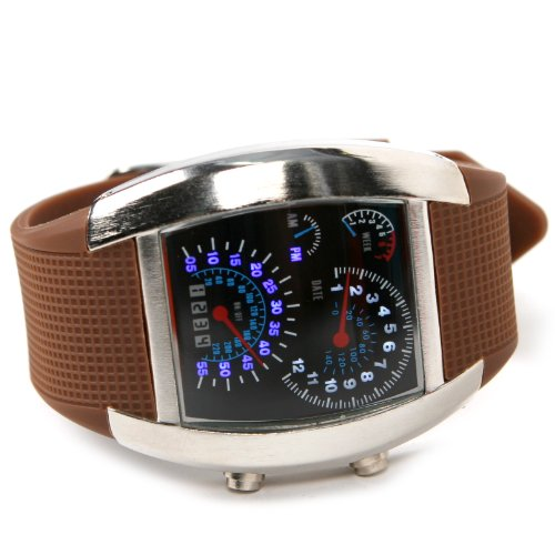 Shot-In Creative Led Watch Sector Sports Car Meter Dial Men Wrist Watch (Coffee)