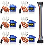 IDEASPARK 6 PCS SG90 Micro Servo Motor 9G for RC Helicopter Airplane Remote Control and Arduino Raspberry Pi(Dupont Cable Included)
