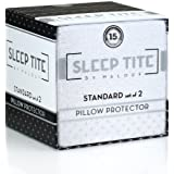SLEEP TITE by Malouf Pillow Protector Set of 2 - Queen - 100% Waterproof-Eliminates Dust Mites & Bed Bugs-Zipper Enclosure-15 Year Warranty