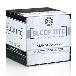 Sleep Tite by Malouf® Hypoallergenic 100% Waterproof Pillow Protector- 15-Year Warranty - Set of 2 - Standard