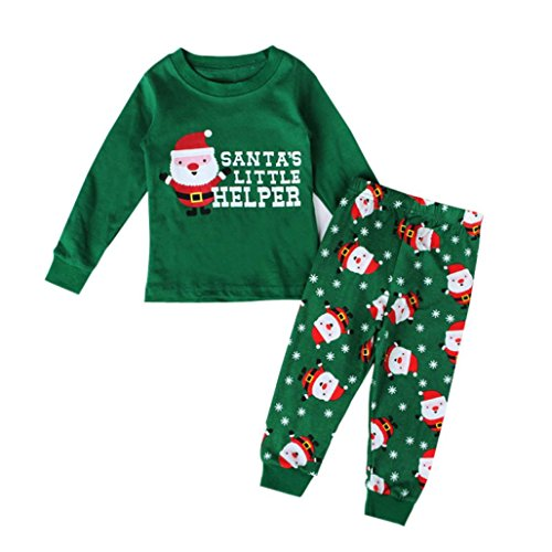 [AMA(TM) Christmas Kids Pajamas Set Sleepwear Nightwear Pyjamas XMAS Gift (3T, Green)] (Xxl Santa Suits For Sale)