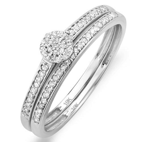 0.25 Carat (ctw) 10k White Gold Round Diamond Ladies Bridal Ring Engagement Matching Band Set 1/4 CT