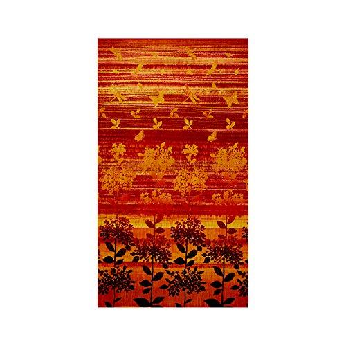 Nature Studies Border Print Orange Fabric By The Yard